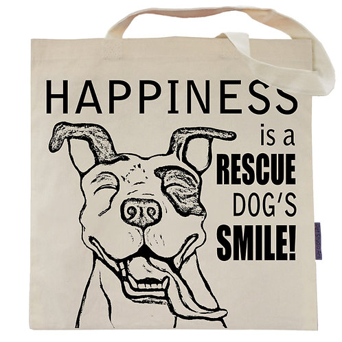 Happiness is a Rescue Dog's Smile Tote Bag