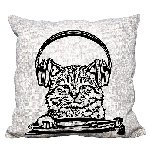 DJ Cat Throw Pillow Cover