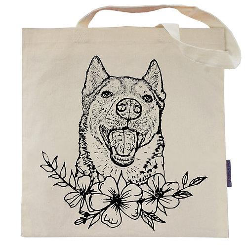 Husky Flower Power Tote Bag