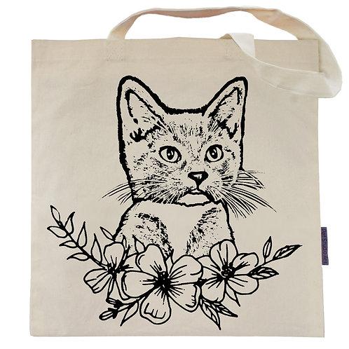 Kitten Flower Power Tote Bag