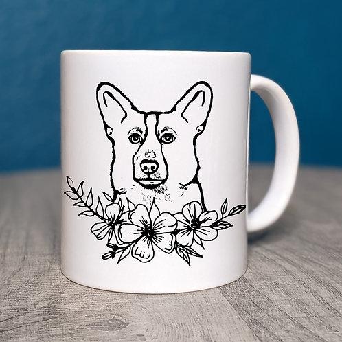 Corgi Flower Power Coffee Mug