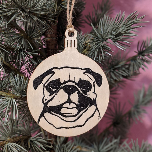 Ruby the Pug Holiday Ornament