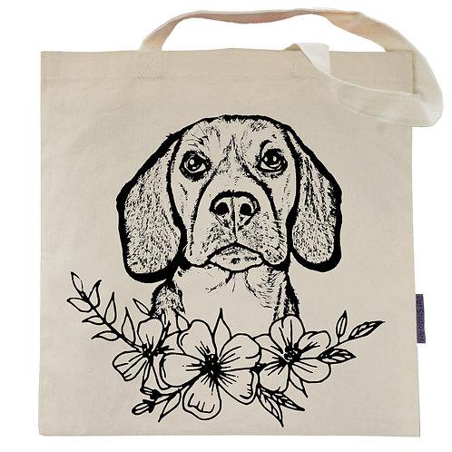 Beagle Flower Power Tote Bag