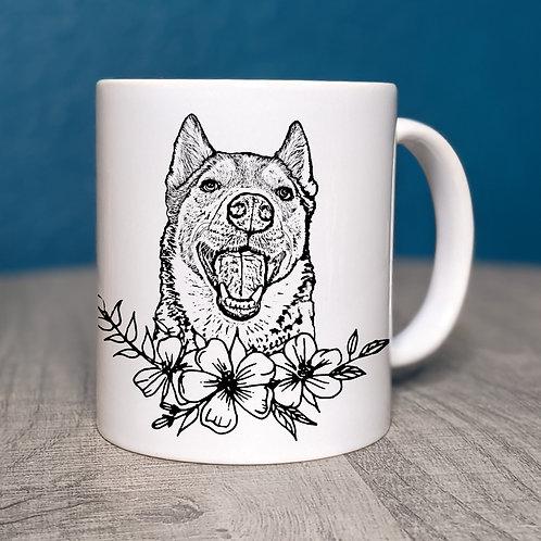 Husky Flower Power Coffee Mug