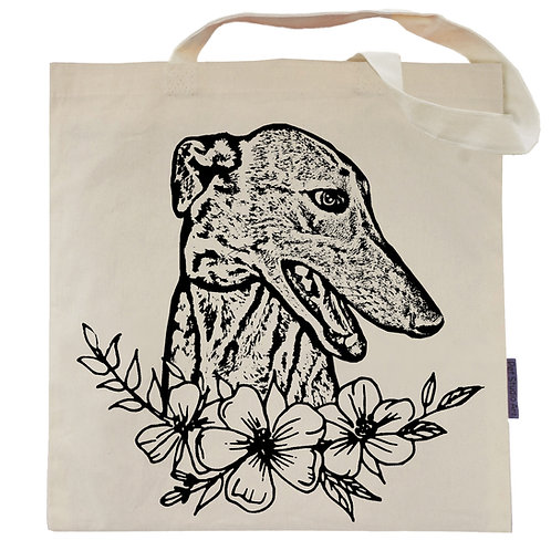 Greyhound Flower Power Tote Bag