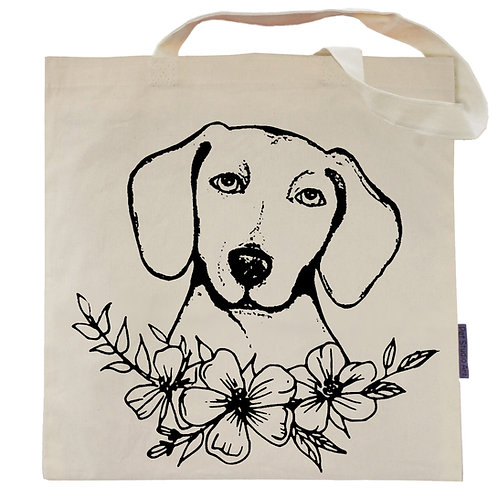 Dachshund Flower Power Tote Bag