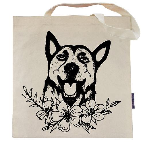 German Shepherd Flower Power Tote Bag