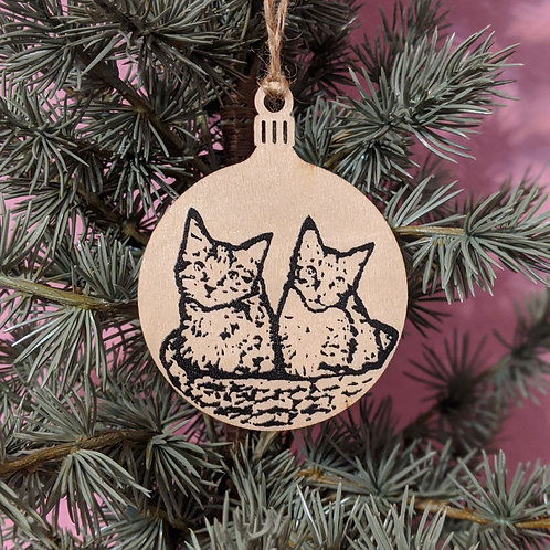 Kittens in a Basket Holiday Ornament
