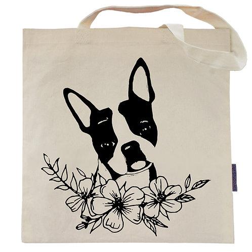 Boston Terrier Flower Power Tote Bag