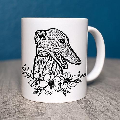 Greyhound Flower Power Coffee Mug