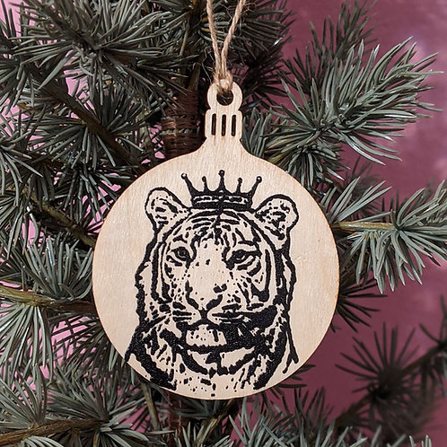 The Real King is the Tiger Holiday Ornament