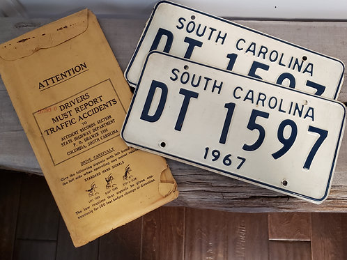 1967 S.C. License Plate matching set
