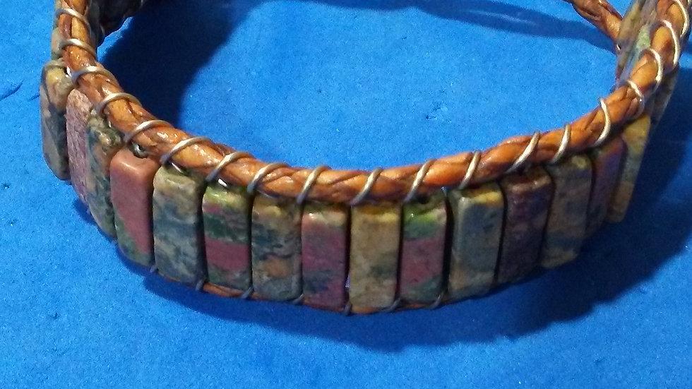 Men's Jasper on Leather Bracelet