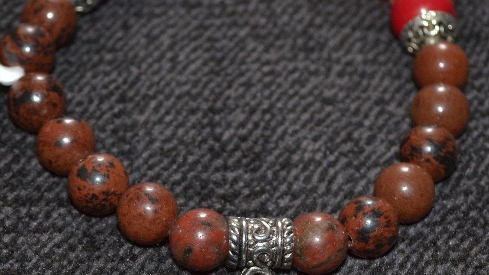 Mahogany Obsidian Chakra bracelet with Buddha accent