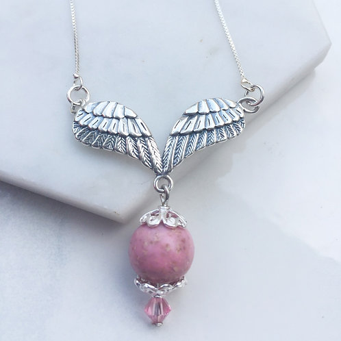 Flower Memorial Angel Wing Necklace