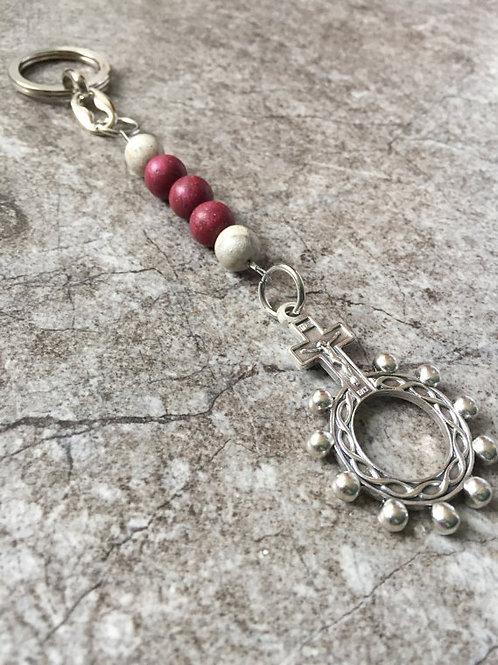 Flower Memorial Finger Rosary Keychain