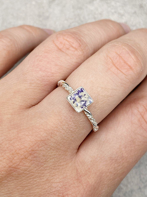 Flower Memorial Dainty Square Ring (Triple Twisted Band)