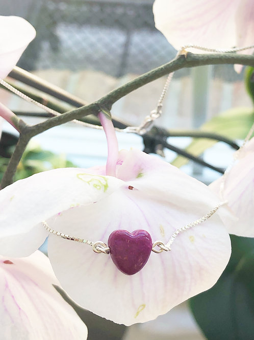 Flower Memorial Tiny Heart Link Necklace