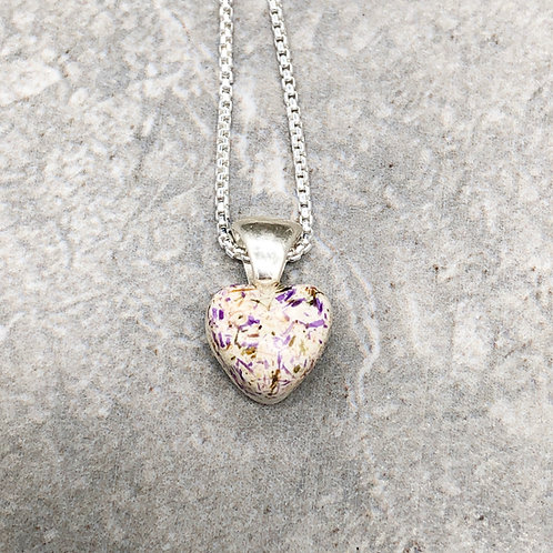 Flower Memorial Tiny Heart Pendant Necklace