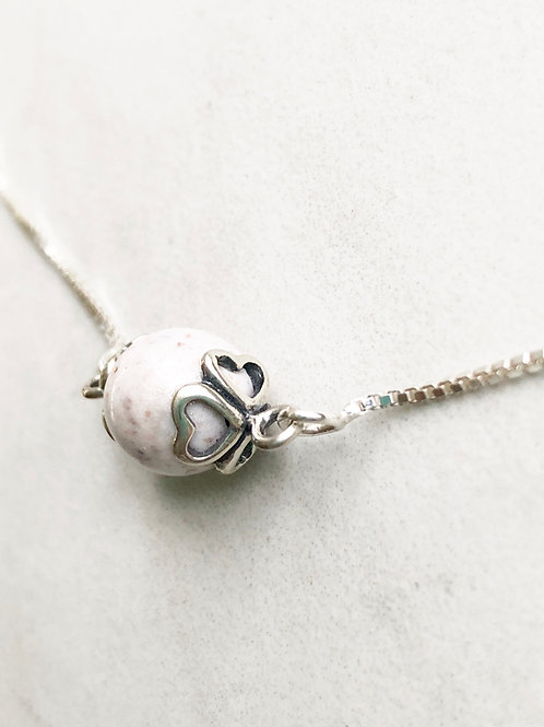 Flower Memorial Heart Caged Bead Necklace