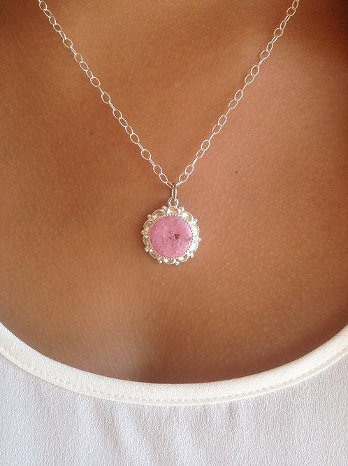 Flower Memorial Round Embellished Pendant  Necklace