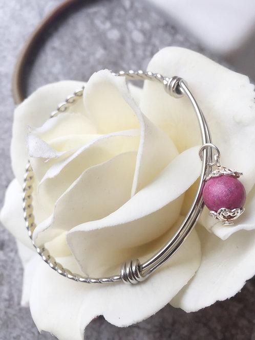 Adjustable Twisted Bangle Memorial Bead Bracelet