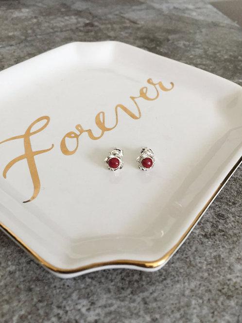 Sterling Silver Rose Memorial Earrings
