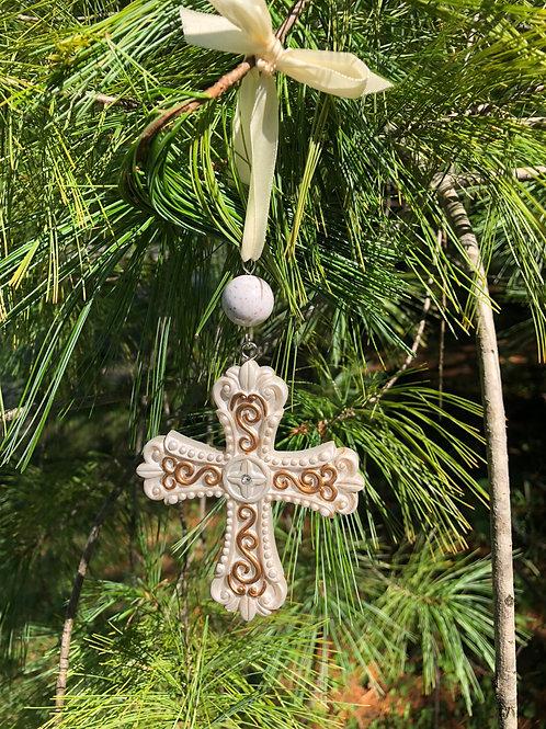 Flower Memorial Cross Ornament