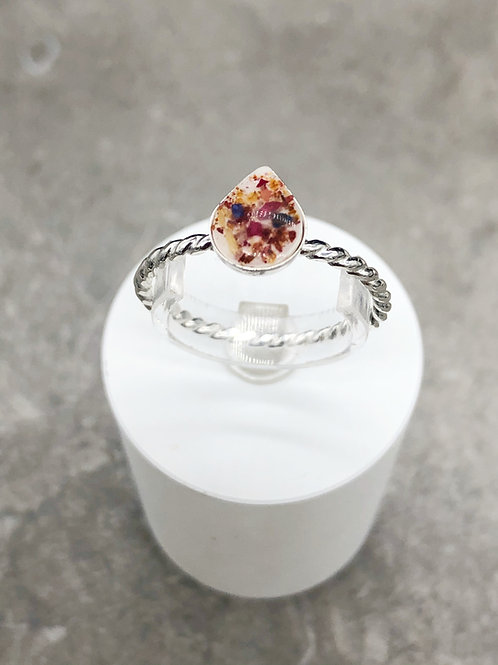 Memorial Flower Dainty Teardrop Ring ( Twisted Band)