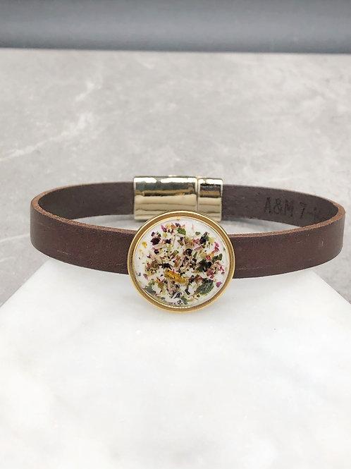 Flower Memorial Leather Bracelet