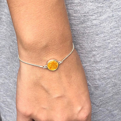Flower Memorial Circle Link Bracelet