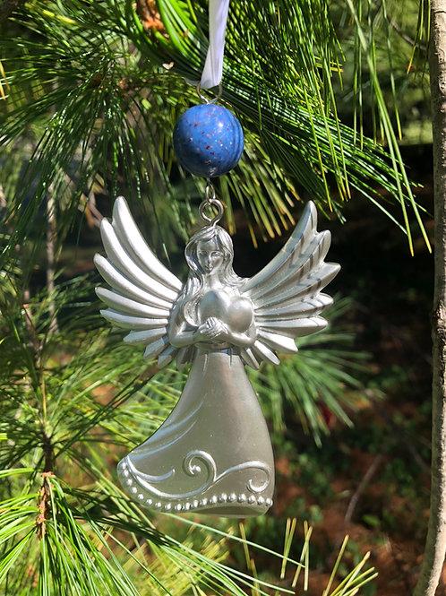 Flower Memorial Angel Heart Ornament