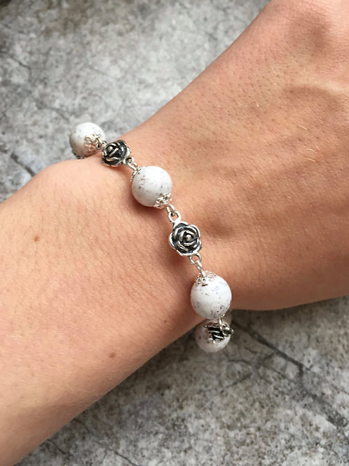 Flower Memorial Rose Bead Bracelet