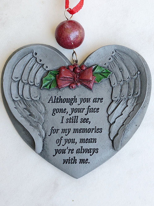Flower Memorial Heart Angel Wing Ornament
