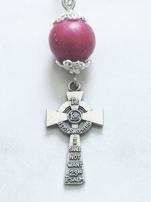 Sterling Silver 23rd Psalm Memorial Bead Necklace