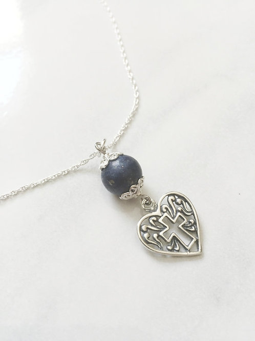 Sterling Silver Heart Cross Memorial Bead Necklace