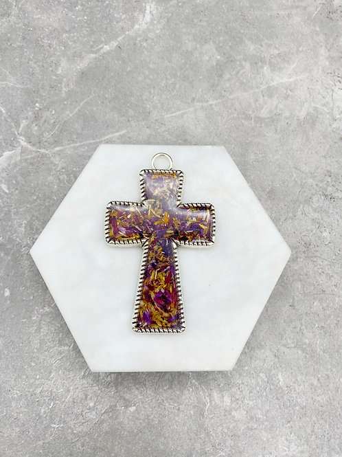 Flower Memorial Cross Keychain/Ornament