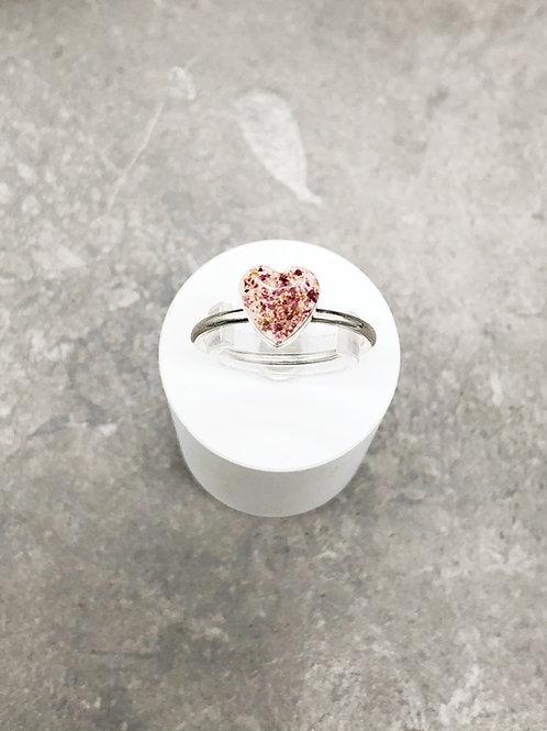 Flower Memorial Dainty Heart Ring (Plain Band)