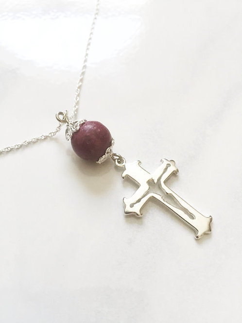 Sterling Silver Cross Memorial Bead Necklace
