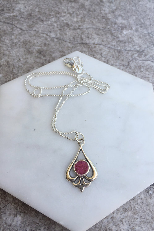 Flower Memorial Teardrop Pendant