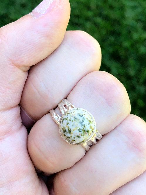 Flower Memorial Round Textured  Ring