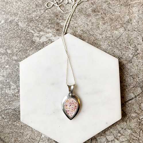 Flower Memorial Tear Drop Pendant