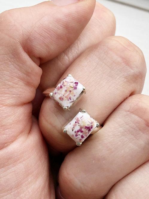Flower Memorial Double Rectangle Ring