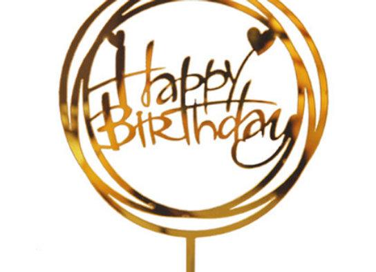 Gold Happy Birthday Tag