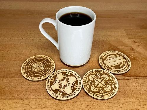 Codex Silenda: Wood Coasters, Set of 5