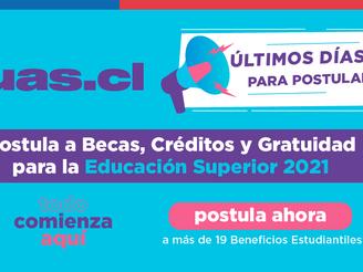 ÚLTIMA SEMANA PARA POSTULAR A BENEFICIOS ESTUDIANTILES PARA LA EDUCACIÓN SUPERIOR 2021