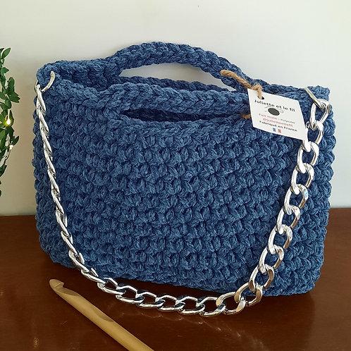 Sac au crochet bleu jean chaîne métal amovible argentée