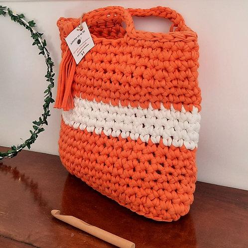 Sac bicolore orange/blanc en trapilho VENDU