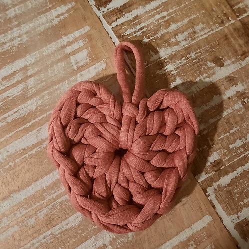 Petit coeur rose blush en trapilho VENDU