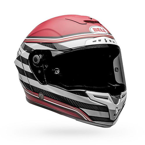 Bell 2020 Racestar DLX RSD The Zone White and Candy Red Helmet